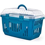 Blue & Transparent Lid Pet Dog Puppy Cat Carriers Basket Bag Cage Portable Travel Kennel Training Box