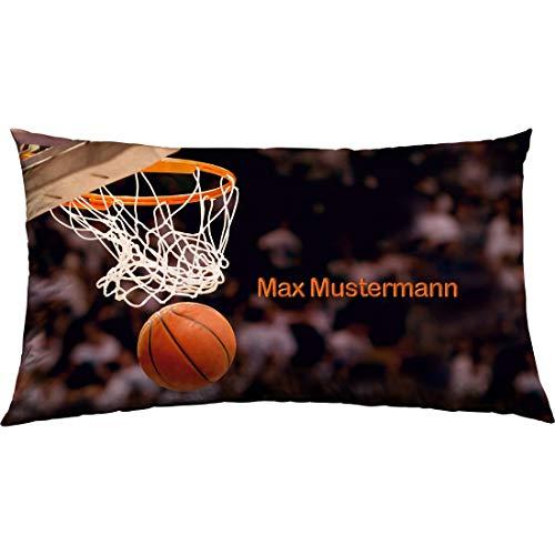 Manutextur Kissen mit Namen - Motiv Basketball - viele Motive - Kissenhülle inklusive Füllung - Größe 30x50 cm - personalisiert - persönliches Geschenk mit Wunsch-Motiv und Wunsch-Name