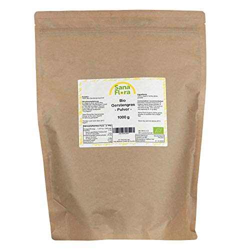 Sana Flora Poudre d'herbe d'orge bio - Qualité alimentaire brute - Fabriqué en Allemagne - 1 paquet (1 x 1 kg)