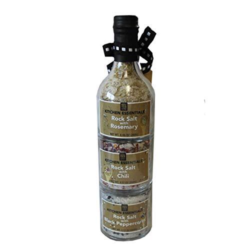 調味塩詰め合わせ 760g 岩塩xスパイス(ローズマリー、唐辛子、ブラックペッパー) スタッキングスパイスコレクション