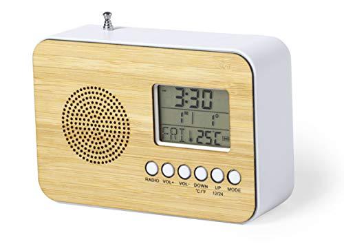 MKTOSASA - Radio Reloj Despertador con Frontal en Bambú. Alarma, Calendario, Termómetro, Radio FM y Antena Retráctil. Alimentación a Pilas 2xAAA y Presentada en Caja Eco - 12.5x8.5x4.7