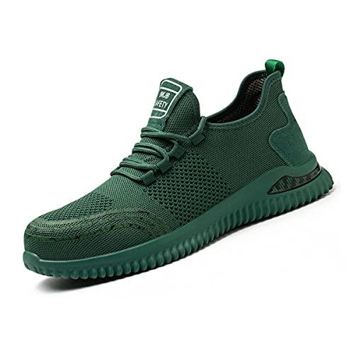 Aingrirn Zapatos de Seguridad Hombre Mujer con Punta de Acero Zapatillas de Seguridad Ultra Liviano Transpirable Calzado de Industrial y Deportiva (Color : Red, Size : 45 EU)