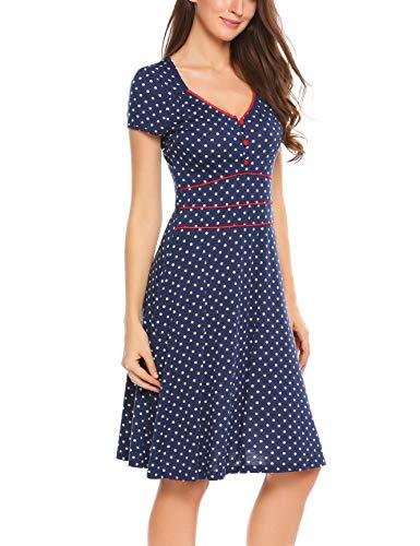 ACEVOG Damen Vintage Gepunktetes Kleid Sommer Knielang mit Kurzarm V Ausschnitt elegant Jersey Kleid Freizeitkleid (M, Blau) - 4