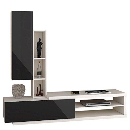 Wohnwand Lumia 3P, Design Mediawand, Modernes Wohnzimmer Set, Anbauwand, Hängeschrank, Regal, TV Lowboard (Weiß/Schwarz Hochglanz)