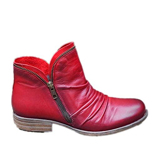 ZBYY Botas de tobillo para mujer con puntera cerrada y tacón bajo, botas de tacón grueso, botas occidentales cortas, zapatos de vestir, 7.5, Vino