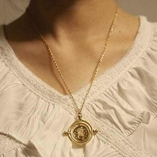 TseanYi Vintage Time Necklace Choker Gold Round Circle Pendant Necklaces Sand Clock Necklace Chain Time Turner Jewelry for Women and Girls (Gold)
