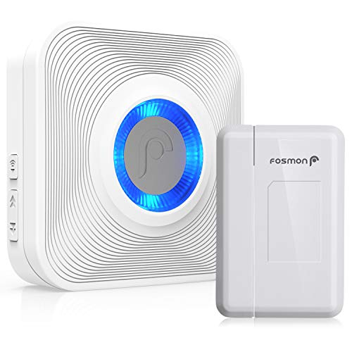 Fosmon WaveLink 51004HOM Wireless Door Open Chime (500 Feet, 52 Tunes, 4 Volume Levels, LED Indicators) 1 Magnetic Door Entry Alert Security Contact Sensor and 1 Wireless Doorbell Plugin Receiver