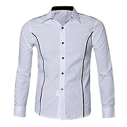 Aiserkly - Vestido de manga larga para hombre, estilo casual, ajustado, elegante, con botón de abajo, cuello cómodo, 2019 Blanco blanco XL