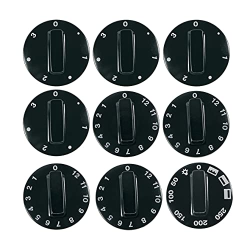 Juego de 9 mordazas universales para estufas y hornos, de 52 mm de diámetro, juego de 9 piezas, color negro