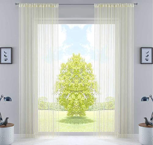 2er Set Fadengardine, HxB 250x140 cm, Creme mit Tunneldurchzug und eingenähtem Kräuselband, geeignet für Gardinenstangen und Gardinenschienen Fadenvorhänge Fadenstores Raumteiler, 20303CN2