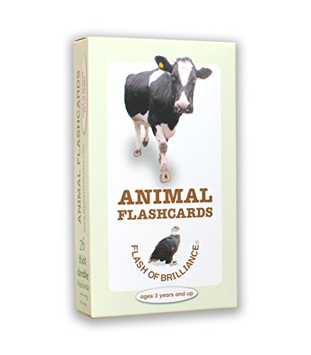 Flash of Brilliance Animal Flash Cards with Fun Facts and Spanish and French Translations for each Animal