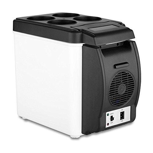LanXi® 12V 6L Auto Mini Kühlbox mit Kühl- und Warmhaltefunktion LKW Camping Kühlbox Elektrisch für Auto und Steckdose (Schwarz)