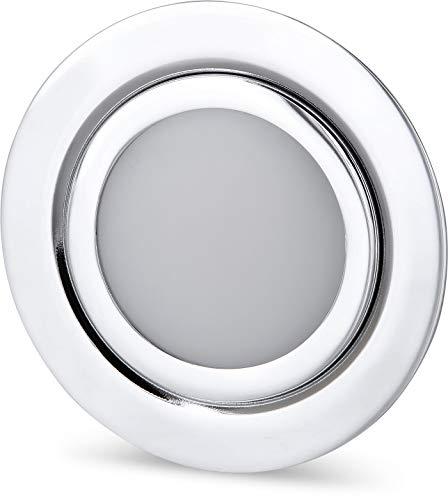 Spot LED fin encastrable pour meuble - Entièrement en métal - IP44 - 12 V - Mini AMP - Chrome brillant - 4 W - 350 lm - Convient pour boîtier encastré de 60 mm de diamètre - Blanc jour (4000 K)