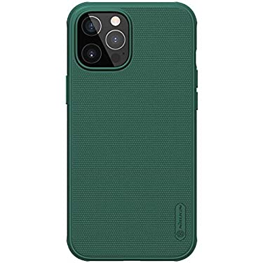 """Nillkin Case for Apple iPhone 12 Pro Max (6.7"""" Inch) Super Frosted Shield Pro Hard Back Soft Border (PC + TPU) Shock Absorb Cover Raised Bezel for Camera Protect PC Without Logo Cut Deep Green"""