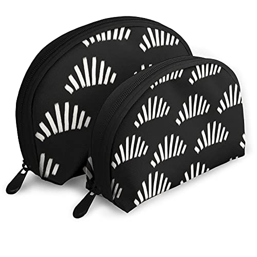 Bolsas portátiles bolsa de embrague portátil, pinceladas abstractas ventiladores negros, Shell maquillaje bolsa de almacenamiento con cremallera 2 piezas