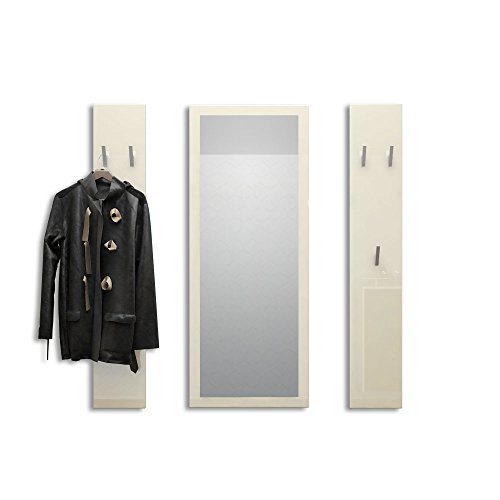 Vladon Garderobenset Garderobe Spot in Creme Hochglanz