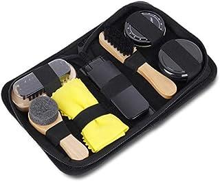 Shoe Polish Kit, DELFINO 7pcs Brush Polish Set with PU Leather Carring Case, Soft Brush, Shoe Cloth, Sponge Brush, Long Ha...