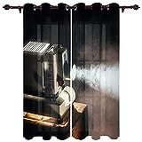CQIIKJ Cortinas Opacas Suaves Proyector Beige Blanco Gris Negro Cortinas con Ojales Reducir Ruido Dormitorio Sala Estar 140 cm x215 cm x2