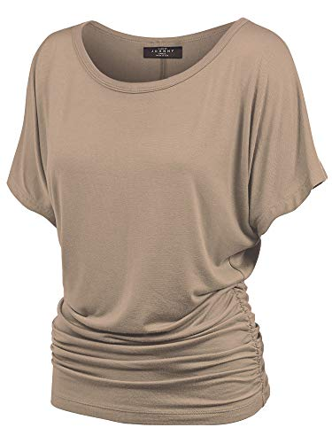 Made By Johnny MBJ WT817 Womens Dolman Drape Top with Side Shirring L Taupe