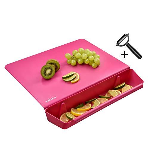Melidoo Küchenbrett mit Auffangschale für Küchenabfälle Kunstoff 38x40 cm | Schneidebrett Kunststoff, rutschfest, Spülmaschinenfest, Antibakteriell, BPA-frei [3in1 Set + SPARSCHÄLER] – Pink