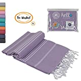 Hello Peshtemal Turkish Bath Towel Prewashed, Original Turkish Cotton Soft Peshtemal Towels, Size 39x71 Inches (Lilac)