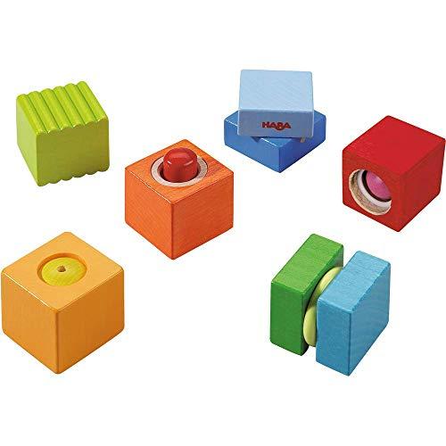 HABA 7628 - Entdeckersteine Klangspaß, robustes Holzspielzeug und Lernspiel ab 1 Jahr, 6 farbenfrohe Bauklötze mit unterschiedlichen akustischen Effekten