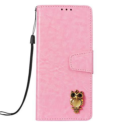 SEYCPHE für LG G7 ThinQ Hülle,Elegantes Retro Leder mit Tasche Lederhülle/Wallet Case/Ledertasche Handyhülle/Schutzhülle mit Kartenfach für LG G7 ThinQ - Rosa Eule