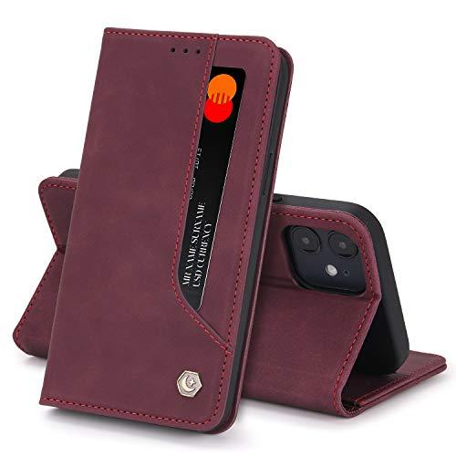 Funda Compatible con iPhone 12 Carcasa,iPhone 12 Mini Fundas Cartera con Ranuras Tarjetas Cierre Magnético Cuero Flip Protector Antigolpes Tapa (iPhone 12, Rojo)