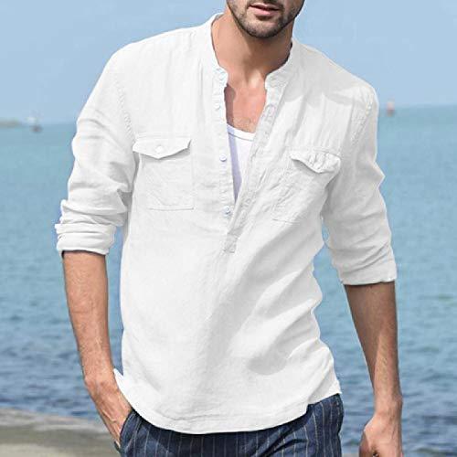 Camisa Casual de algodón y Lino para Hombre Camisa de Cuello Alto de Color Liso de Manga Larga para Hombre M Blanco