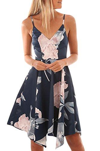 TOUVIE Sommerkleider Damen V-Ausschnitt Spaghettiträger Rückenfreies Blumen Strand Kleider A-Linie Abendkleid Knielang Blau S