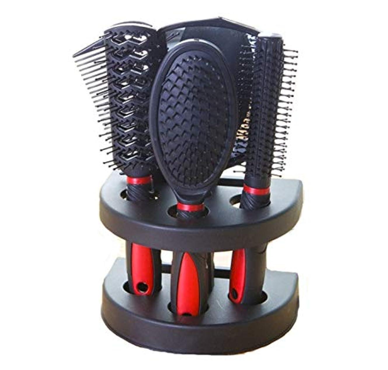 妖精兄弟愛政府ヘアコーム、赤いマッサージコーム、ミラー付き環境に優しいコーム、帯電防止エアバッグコーム、ロングヘアコーム、ヘアコーム、理髪エアバッグコーム5ピースセット、理髪コームギフト