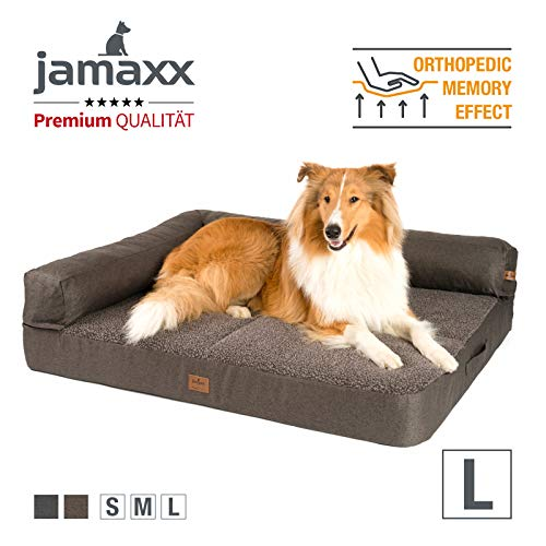 JAMAXX Premium 2-in-1 Hunde-Sofa - Orthopädisch Memory Visco, Abnehmbare Polster, Abnehmbarer Bezug Waschbar, Hochwertiger Stoff mit viel Eleganz, Weiches Lammfell/Sherpa, PDB3014 (L) 120x90 braun