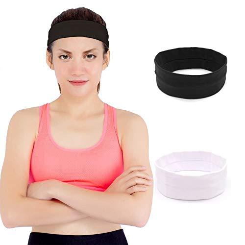 JeoPoom Stirnband Sport[2 Stück], Atmungsakti Yoga Stirnband Stretchy Band Bequemes Schweißband, Sport Trainieren Haarbänd für Tennis, Laufen, Fitness