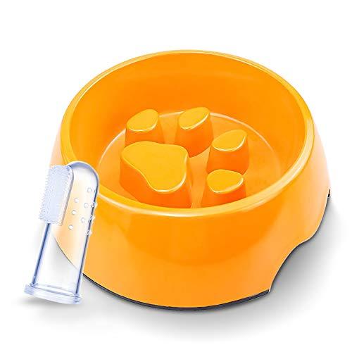 JTIRR ペット食器 早食い防止 ペットボウル 給食器 犬猫用ボウル ごはん皿 健康管理 肥満防止 ゆっくり食べる 洗いやすい 猫 小/中型犬 指歯ブラシ付き (オレンジ, S)