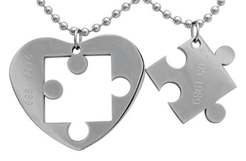 Hanessa Gravierte Puzzle Herz Kette mit Wunsch Gravur Partner-ketten aus Edelstahl in silber Puzzle-Teil Anhänger Geschenk Schmuck für Paare Mann und Frau