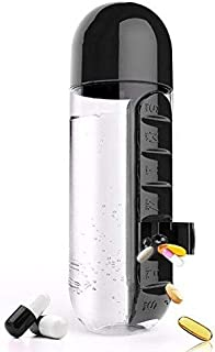 Black Water Bottle With Built-in Daily Pill Box Organizer