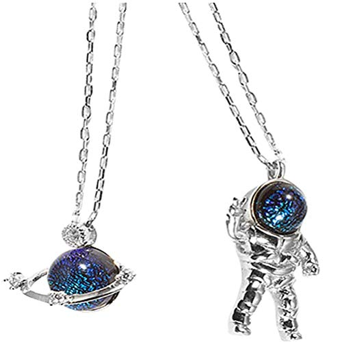 NANUNU Pendant Necklaces Planet and Astronaut Couple Necklaces Long Chain for Men and Women
