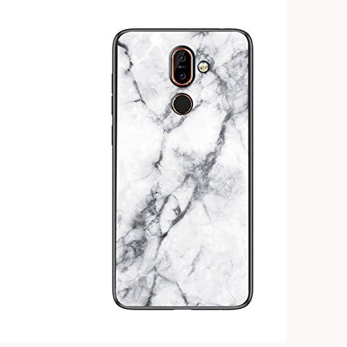 COVO® Funda para Nokia 7 Plus Marmol Case Tapa Trasera de Cristal Templado con TPU Edge Carcasa para Nokia 7 Plus (Blanco)