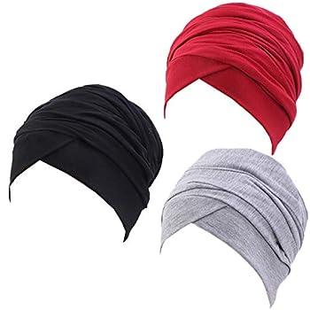 Ever Fairy Turban Head Wrap Scarf,African Women  Soft Long Scarf Shawl Hair Bohemian Headwrap Stretch Headband Tie  Set A-Black+Grey+Red