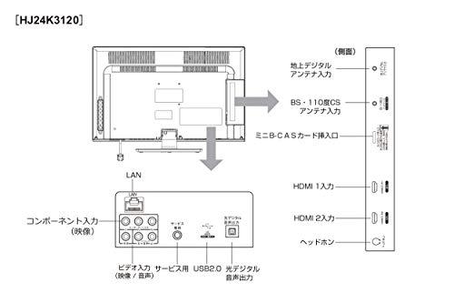 『ハイセンス 24V型 液晶 テレビ HJ24K3120 ハイビジョン 外付けHDD裏番組録画対応 2017年モデル』のトップ画像
