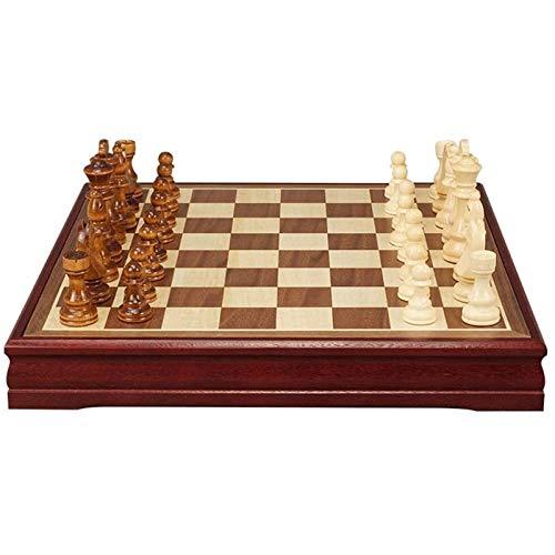LMDH Conjunto de Juegos de ajedrez, Conjunto de ajedrez de Madera clásico - Tablero de ajedrez de Madera y Piezas de Madera - Juego de Mesa para Adultos y niños (Size : 45 * 45cm)