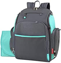 Fastfinder 3 Piece Set Diaper Bag Backpack for Moms & Dads with Changing Pad and Wipes Pocket (Aqua)