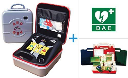 Life-POINT Pro AED Halbautomatisches Defibrillator für Erwachsene inklusive und DAE Schild - berühmte Erste-Hilfe-Kassette