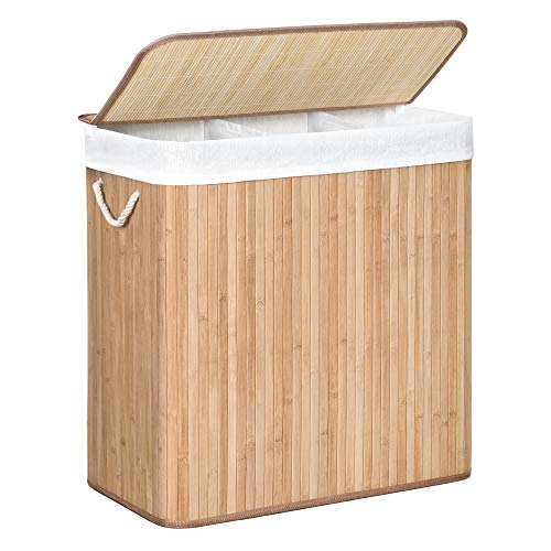 SONGMICS Laundry Hamper Basket with 3 Sections, Clip-on Lid and Handles, 150L Foldable, for Laundry Room, Bedroom, Bathroom, Natural LCB091N01