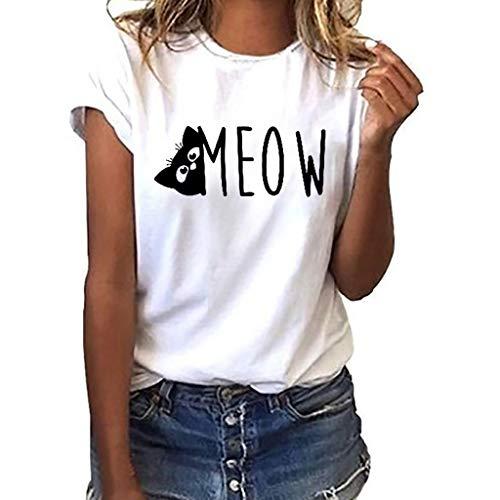 TWIFER Damen Katze Sommer Shirt Mädchen Logo Gedruckt Tees Shirts Kurzarm T Shirt Bluse Tops