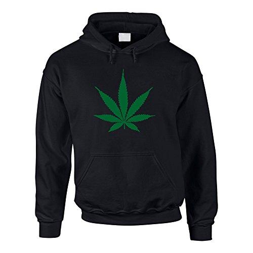 shirtdepartment Hoodie Hanfblatt Weed Leaf Kapuzenpullover Hanf Sweater Cannabis, M, schwarz