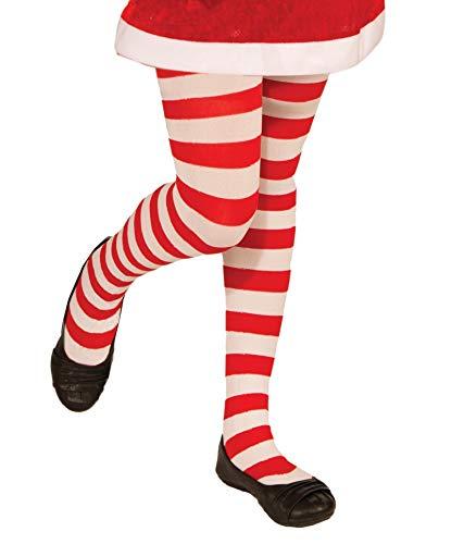 Forum Novelties Novelty Candy Cane Striped Christmas Tights, Child Medium