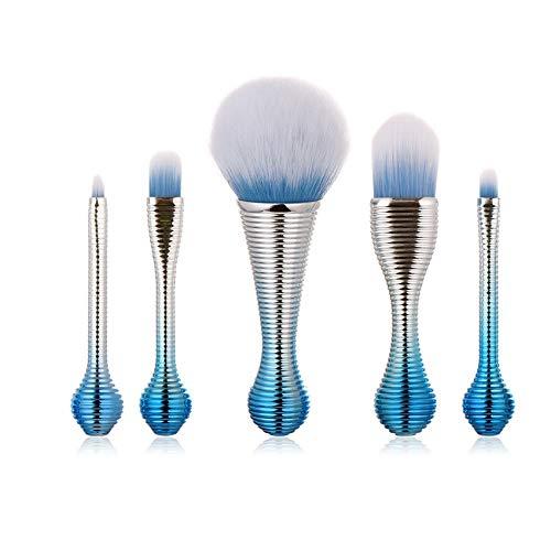 XIANRUI 5pcs Bleu Pinceau de Maquillage Sucette avec étui (Color : Blue)