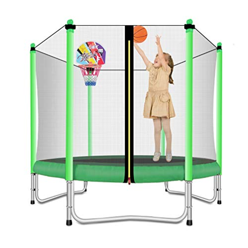 Lovely Snail Trampoline with Basketball Hoop-Trampoline for Kids-Green-5 Feet