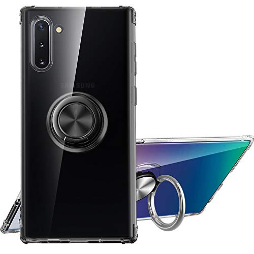 Note10 Case Compatible with Samsung Galaxy Note 10 5G Cases Phone Cover Gaxaly 10note 5 G Ring Kickstand Fit Magnetic Car Mount Soft TPU Slim Best Protective Bumper 6.3 Inch (Black)